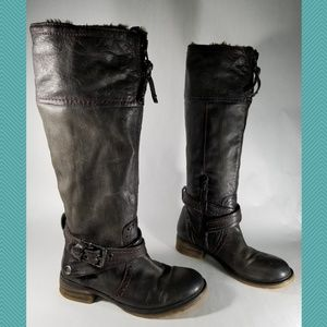 Pakros Dark Gray Leather Knee High Riding Boots